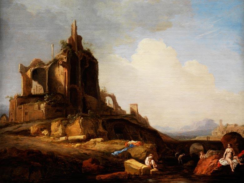 Bartholomeus Breenbergh, um 1598 - um 1657 zug., Landschaftsmaler und Kupferstecher, bekannt für seine Ansichten von Ruinen und alten Denkmälern der Umgebung Roms