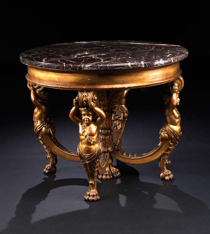Bedeutender historistischer Tisch, gestempelt D.P. Lepautre