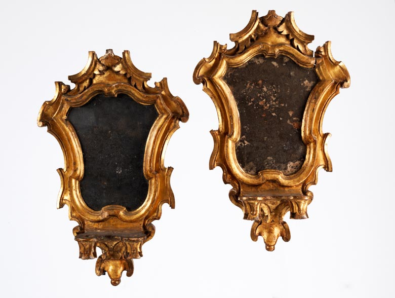 Paar italienische Wand-Spiegelappliken mit Kerzenhalterungen