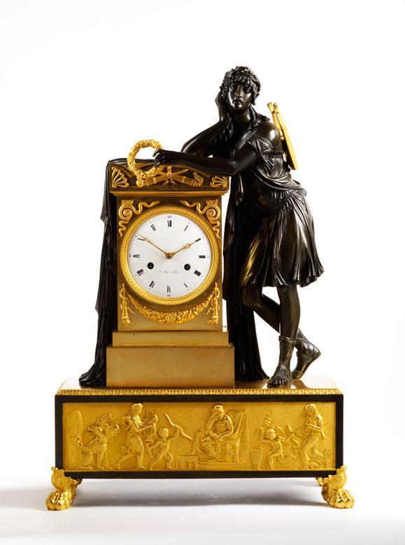 Bedeutende Kaminuhr in Bronze und Feuervergoldung von Le Sieur à Paris
