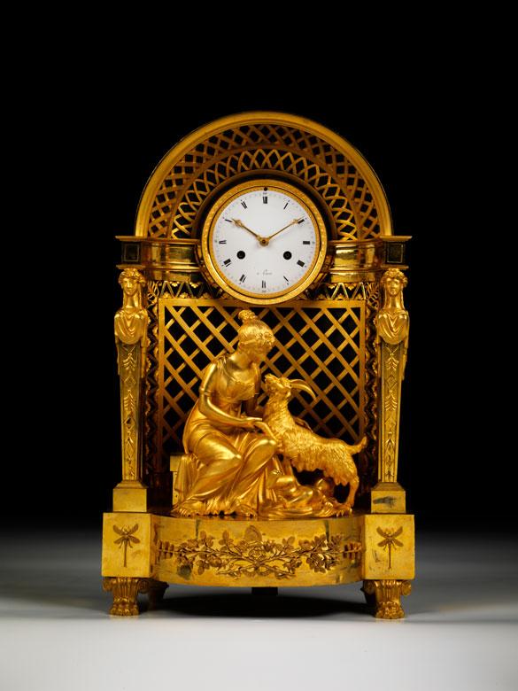 Pariser Empire-Uhr in Bronze und Feuervergoldung