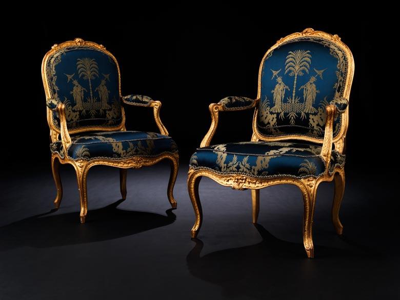 Bedeutendes Paar Louis XV-Fauteuils von Philippe-Joseph Pluvinet