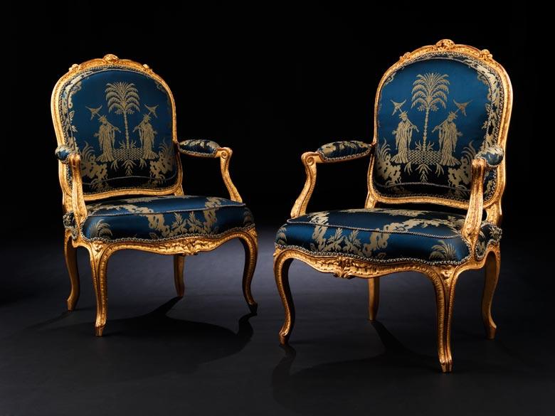 Bedeutendes Paar Louis XV-Fauteuils von Philippe-Josephe Pluvinet