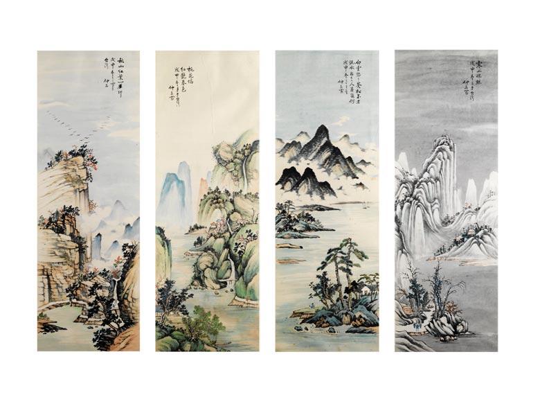 Satz von vier chinesischen Rollbild-Tuschmalereien, die vier Jahrezeiten darstellend