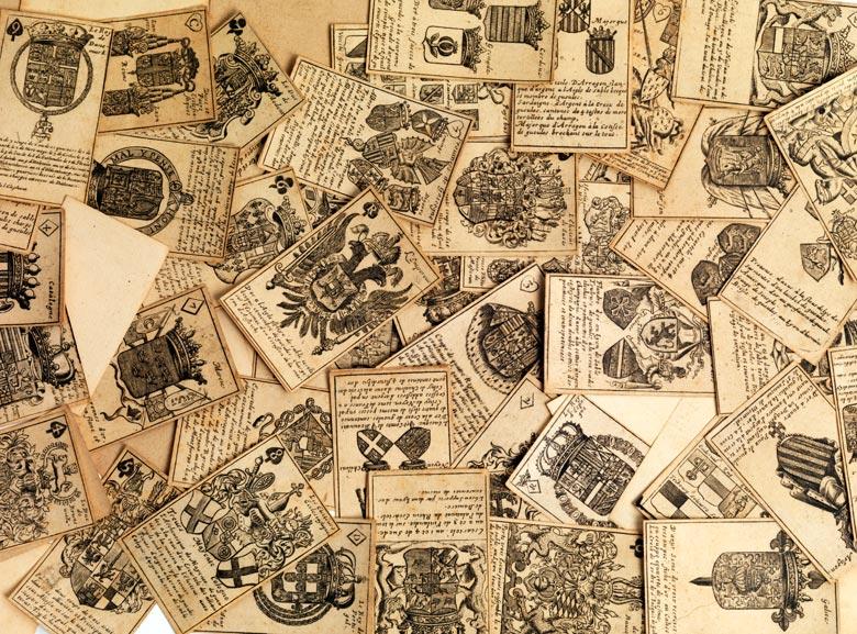 Seltenes Kartenspiel mit Adelswappendarstellungen