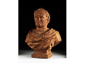 Detail images:  Terrakotta-Büste des römischen Kaisers Vespasian