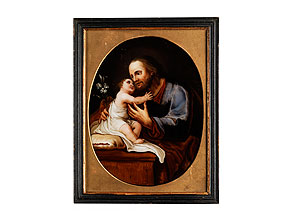Detail images:  Hinterglasbild mit Darstellung des Heiligen Joseph mit dem sitzenden Jesuskind