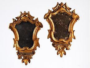 Detail images:  Paar italienische Wand-Spiegelappliken mit Kerzenhalterungen