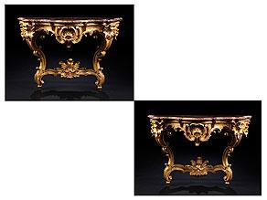 Detail images:  Paar vergoldete Rokoko-Konsolen mit Marmorplatten