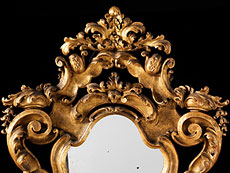 Detail images: Barocker Wandspiegel mit Figurenpodest