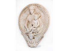 Detail images: Großer Marmortondo mit Darstellung von Maria und Kind im Hochrelief