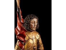 Detail images: Gotische Schnitzfigur des Heiligen Georg