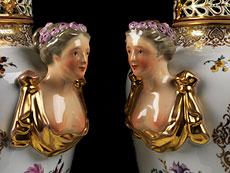 Detail images: Paar große Deckelvasen