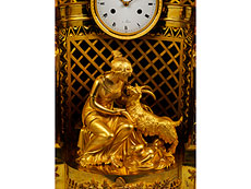 Detail images: Pariser Empire-Uhr in Bronze und Feuervergoldung