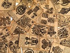 Detail images: Seltenes Kartenspiel mit Adelswappendarstellungen