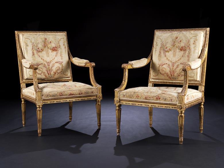 Paar Louis XVI-Fauteuils mit Aubusson-Bezügen