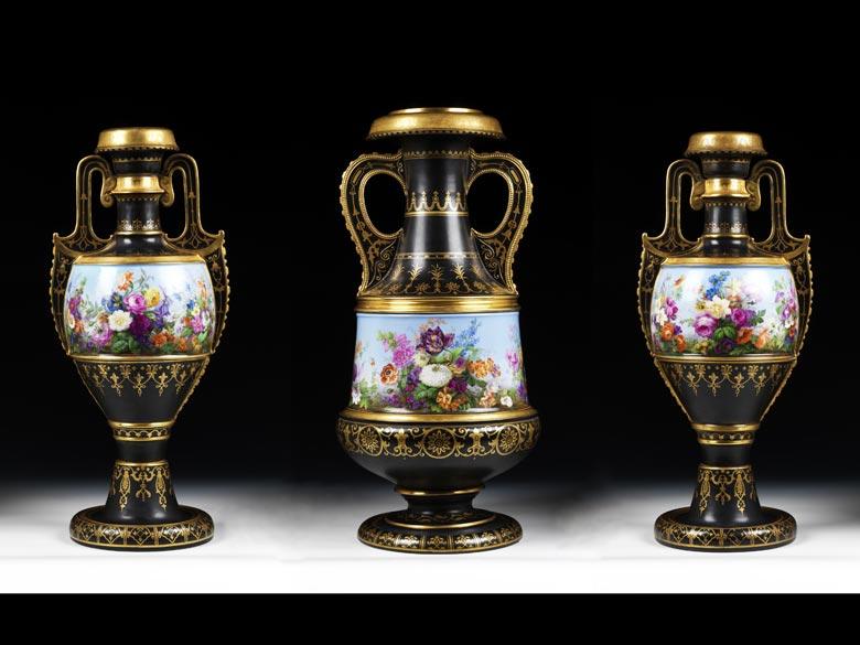 Drei bedeutende KPM-Vasen von Carl Friedrich Schinkel