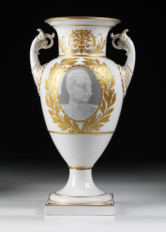 KPM-Amphorenvase mit Portrait Kaiser Wilhelms II.
