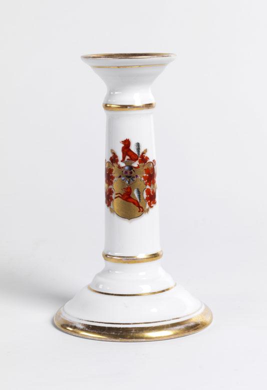 Tafelkerzenleuchter mit Wappen der Familie von Leipziger