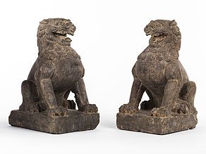 Detailabbildung: Paar sitzende Tempelwächterlöwen