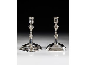 Detail images:  Paar silberne Tischleuchter