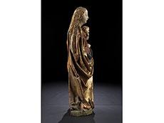 Detail images: Bedeutende Schnitzfigur einer gotischen Madonna mit Kind