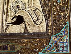 Detail images: Ikone mit vergoldetem Silberoklad