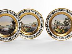 Detail images: Satz von sechs Nymphenburger Porzellantellern mit Landschaftsmalereien