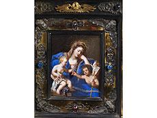 Detail images: Reliquiar in Form eines Hausaltärchens mit zentralem Gemälde der Maria mit Jesuskind und dem Johannesknaben