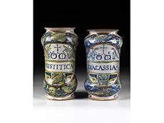 Detail images: Paar seltene Apothekengefäße aus Deruta