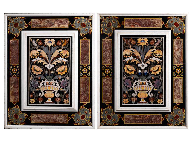 Paar italienische Pietra dura-Wandbekleidungsplatten