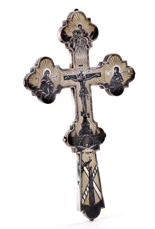 Russisches Reliquien-Vortragekreuz aus Silber