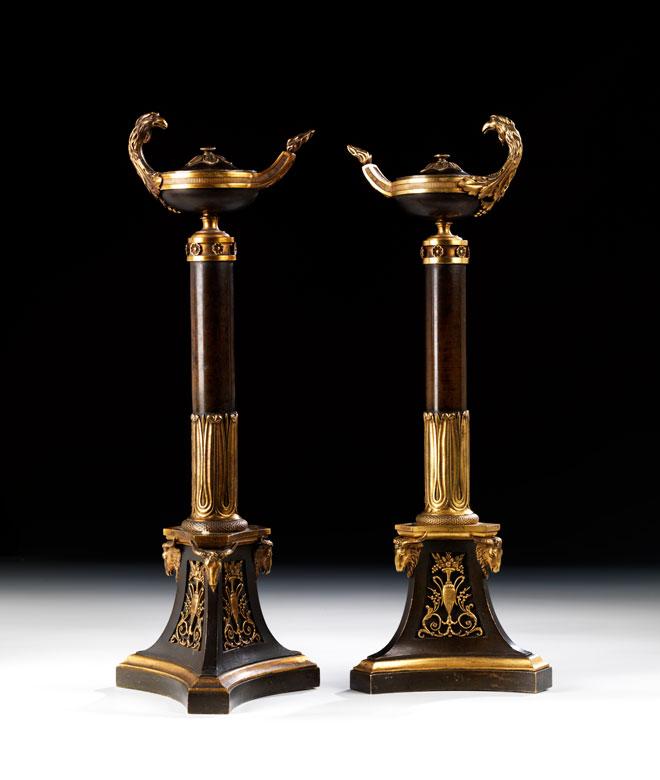 Paar Empire-Kerzenhalter in Bronze und Feuervergoldung