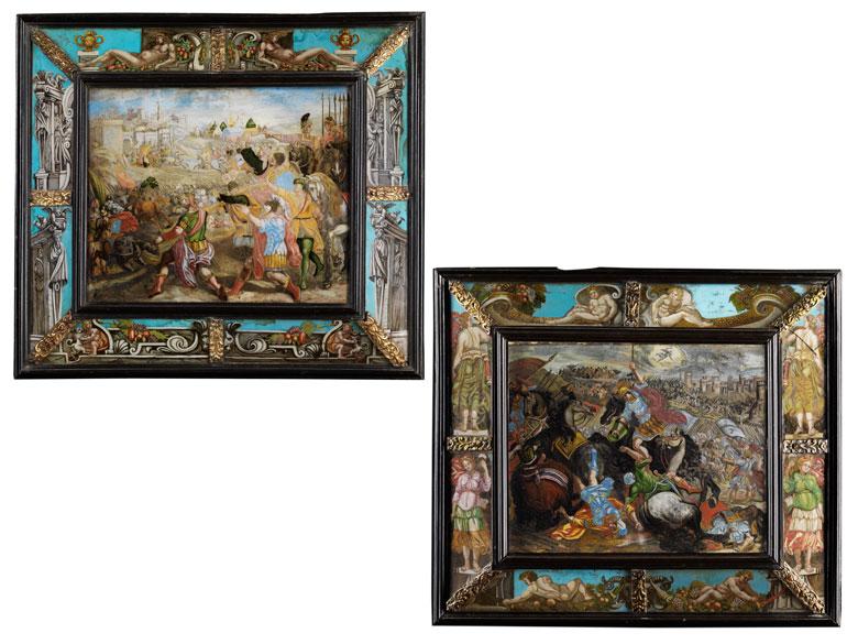 Paar bedeutende Hinterglasbilder des 17. Jahrhunderts