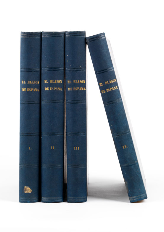 Vier Bände mit Beschreibung des spanischen Adels