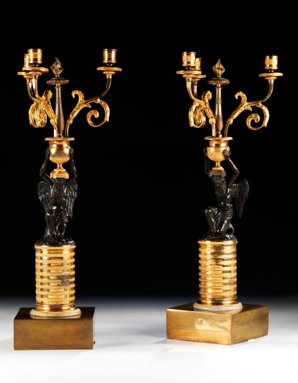 Paar russische Tischkandelaber in Bronze und Feuervergoldung