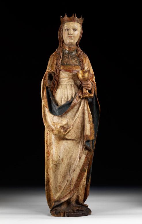 Schnitzfigur der Heiligen Barbara