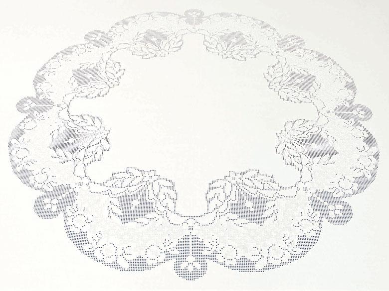 Rundes Tischtuch mit sehr feiner A-Jour-Handarbeit