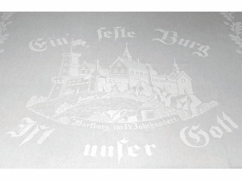 Tafeltuch (Gebilddamast) mit Darstellung der Wartburg bei Eisenach im 14. Jahrhundert