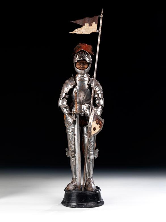 Modell eines Ritters im Rossharnisch