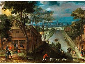 Detail images:  Abel Grimmer (Grimmaert), 1570 - vor 1619 Antwerpen, zug.