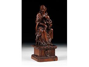 Detail images:  Schnitzfigur einer thronenden Madonna mit Kind