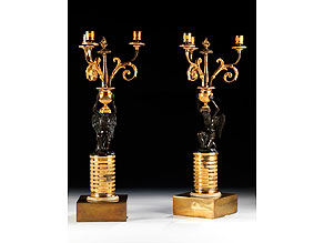 Detail images:  Paar russische Tischkandelaber in Bronze und Feuervergoldung