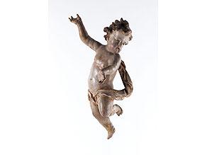 Detail images:  Geschnitzter und gefasster Putto in der Stilsprache bzw. aus dem Umkreis des Bildschnitzers Meinrad Guggenbichler, Oberösterreich