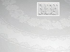 Detail images:  Banketttafeltuch mit Chrysanthemenoval und 16 Mundtüchern