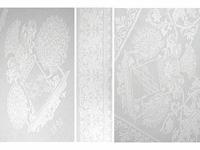 Detail images:  Banketttafeltuch mit Wappen der Freiherren v. Buddenbrock