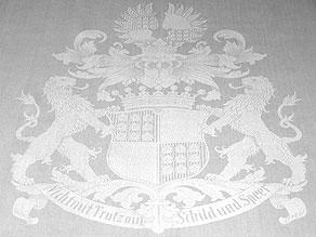 Detailabbildung:  Großes Wappentafeltuch der Freiherren von Oldershausen
