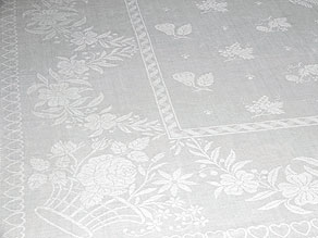 Detail images:  Großes handgewebtes Tafeltuch mit Weizenähren, Weintrauben und Früchten
