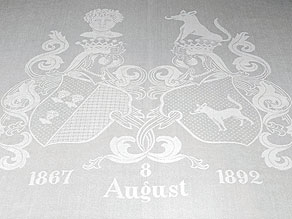 Detail images:  Wappentafeltuch des Ehepaares v. Seydewitz (und von Ende)