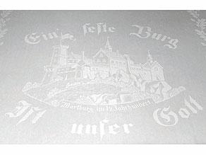 Detail images:  Tafeltuch (Gebilddamast) mit Darstellung der Wartburg bei Eisenach im 14. Jahrhundert